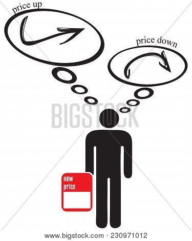 Decision To Lower Or Raise Prices. Price Selection Symbol