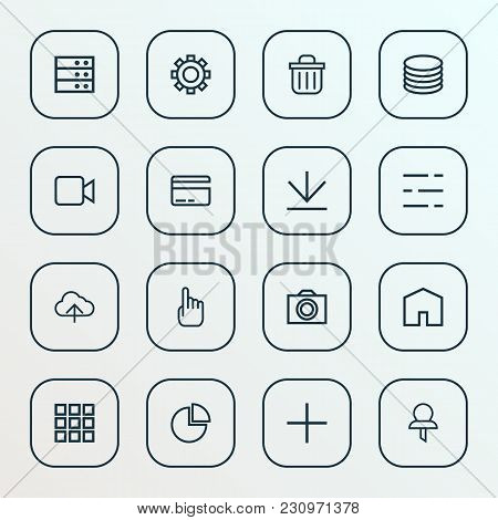 User Icons Line Style Set With Cursor, Pie Chart, Db And Other Video Elements. Isolated  Illustratio
