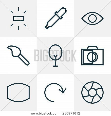 Picture Icons Line Style Set With Monitor, Refresh, Focus And Other Brush Elements. Isolated  Illust