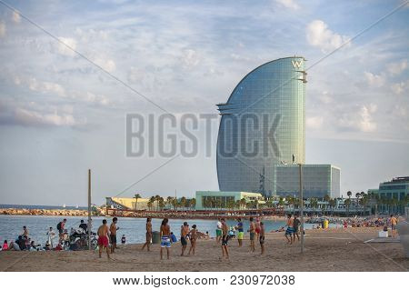 Barcelona, Spain - June 28: View Of Barceloneta Beach In Summer In June 28, 2016 In Barcelona, Spain
