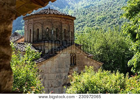 Part Of The Historical Stone Church Of Panagia At The Pyli Village In Thessaly, Greece