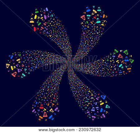 Attractive People Cycle Flower With Six Petals On A Dark Background. Hypnotic Spiral Combined From R