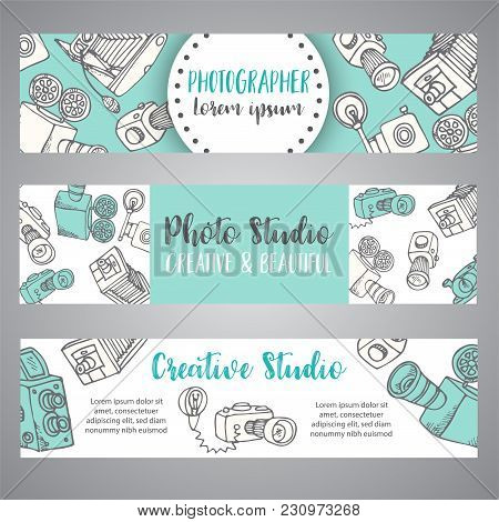 Banners For Photo Studio Or Photographer. Hand Drawn Doodle Cartoon Retro Photo Cameras, Vector Illu