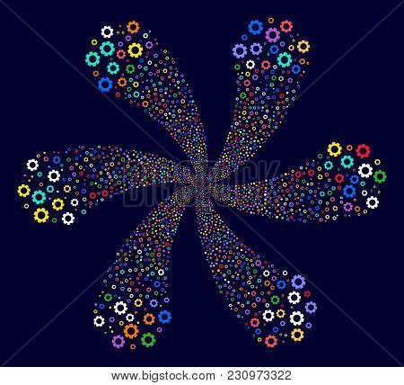 Multi Colored Gear Swirl Burst On A Dark Background. Hypnotic Cycle Organized From Scattered Gear Sy