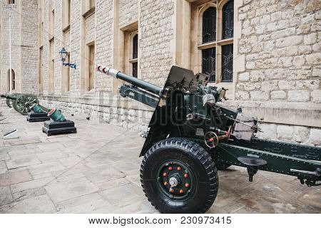London, Uk - March 11, 2017: Cannons Outside The Jewel House, A Vault Housing The British Crown Jewe