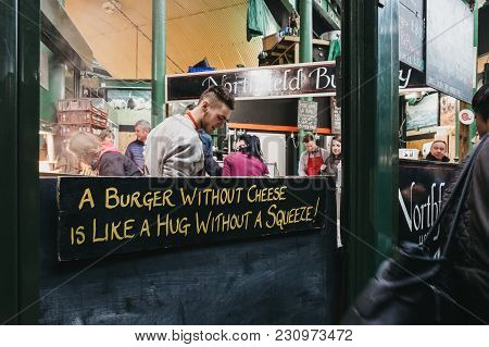 London, Uk - September 30, 2017: Northfield Butchery Stand In Borough Market, One Of The Largest And