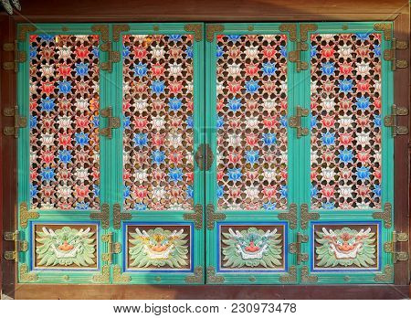 Korean Traditional Door Pattern At Bongeunsa In Seoul, South Korea.
