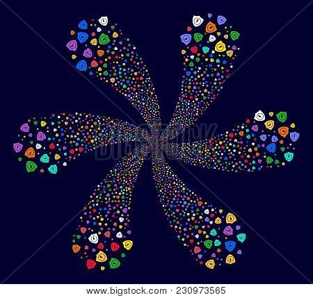 Colorful Electric Guard Exploding Flower With 6 Petals On A Dark Background. Psychedelic Cycle Organ