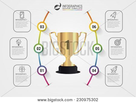 Organization Chart With 6 Steps. Infographic Template. Vector Illustration