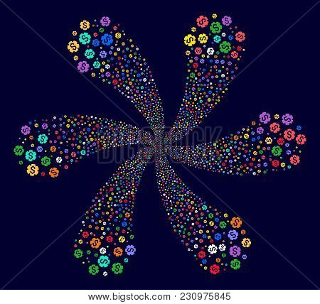 Bright Financial Settings Gear Spiral Abstract Flower On A Dark Background. Psychedelic Burst Design
