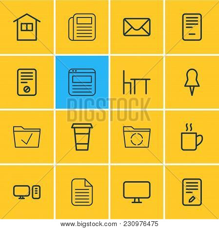 Vector Illustration Of 16 Office Icons Line Style. Editable Set Of Trash Bin, Ban, Clock And Other I