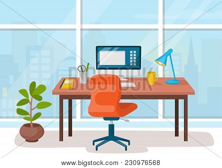 Workplace, Cabinet, Office Workspace With Table And Computer