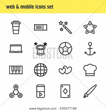 Illustration Of 16 Joy Icons Line Style. Editable Set Of Mask, Barrier, Dice And Other Icon Elements