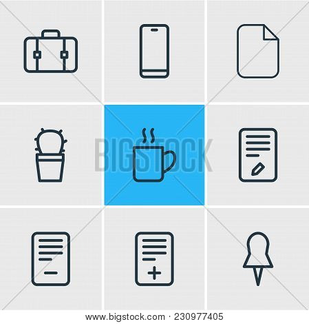 Illustration Of 9 Bureau Icons Line Style. Editable Set Of Deleting, Pin, Computer And Other Icon El