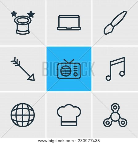 Illustration Of 9 Joy Icons Line Style. Editable Set Of Tea, Airship, Piano And Other Icon Elements.