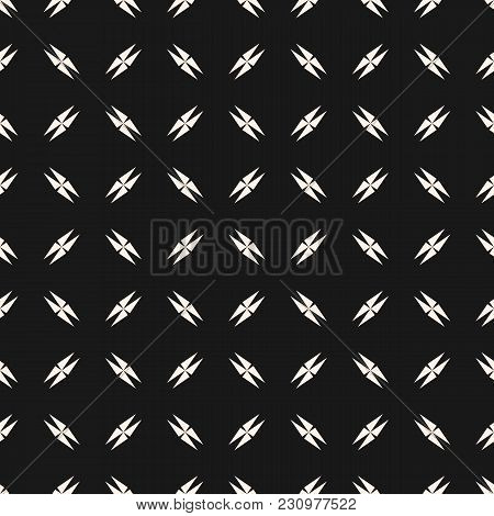 Vector Minimalist Black And White Seamless Texture With Small Edgy Geometrical Shapes, Crosses, Tria