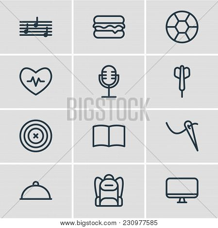 Illustration Of 12 Lifestyle Icons Line Style. Editable Set Of Picture, Baseball, Rocket And Other I