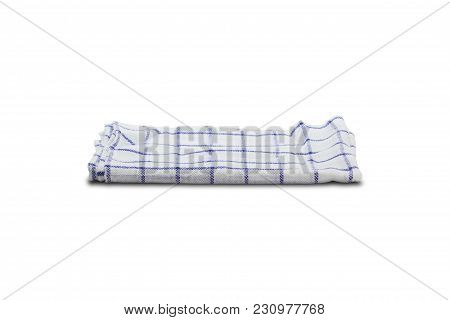 Fold Tablecloth Isolated On White Background With Clipping Path. Tablecloth Is Used For Food Falling