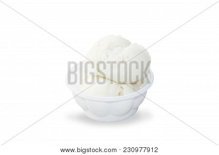 Coconut Ice Cream In White Plastic Bowl Isolated On White Background With Clipping Path. Steamed Coc