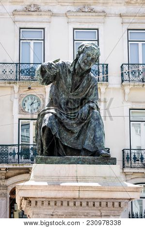 Largo Do Chiado Square With Statue Of Antonio Ribeiro In Lisbon, Portugal