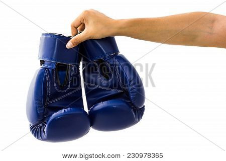 Hand Holding Boxing Mitts Isolated On White Background With Clipping Path. Blue Boxing Glove Usually
