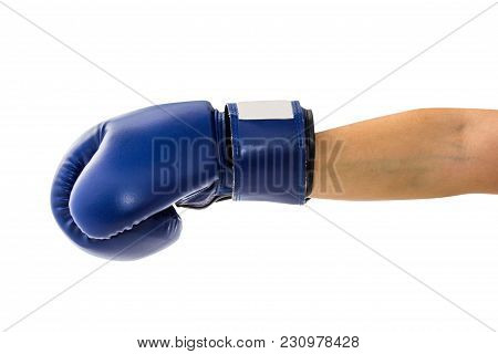 Female Hand Wearing Boxing Glove Hitting Forward Or Showing Isolated On White Background With Clippi