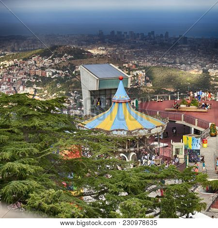 Barcelona, Spain - May 18 2013: Carrousel At Tibidabo Amusement Park In Barcelona, Spain. Park Is Th