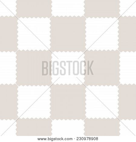 Checkered Geometric Seamless Pattern With Jagged Square Shapes. Abstract Texture In Light Pastel Col