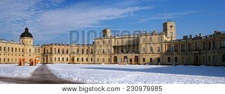Gatchina, Russia - March 12, 2018: Gatchina Palace. Panoramic View Of The Palace Square And The Main
