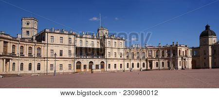 Gatchina, Russia - May 7, 2017: Gatchina Palace. Panoramic View Of The Palace Square And The Main En