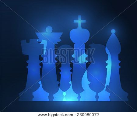 Set Of Chess Figures. Chess Elements Collection. Flat Style Chess Figures Isolated. Vector Illustrat