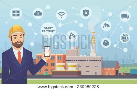 Smart Factory. Businessman With Phone In His Hand Starts And Manage Huge Plant With Application.