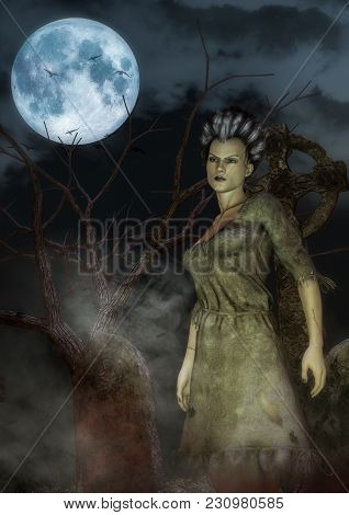 Portrait Of A Classical Monster Bride In A Cemetery. 3d Illustration.
