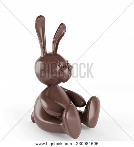 Chocolate Easter Bunny. 3d Render. Isolated On White Background