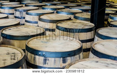 Bourbon Barrels Lined Up And Ready For Storage