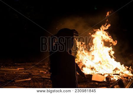 Little Jewish Childs Do Bonfire At Jewish Holiday Of Lag Baomer