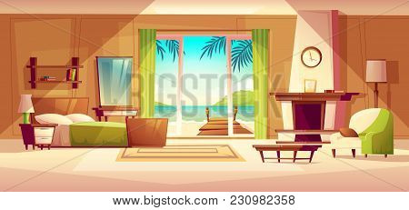 Vector Panorama Of Villa Interior, Window With Seaside. Bedroom Of Tropical Hotel, Resort, Tourism C