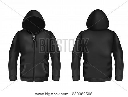 Vector Realistic Black Hoodie With Zipper, With Long Sleeves And Pockets, Casual Unisex Model, Sport