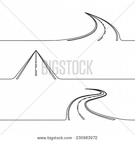 Continuous Line Drawing Of The Road, Single Line Concept Of The Roadway With Turns, Twist Or Perspec
