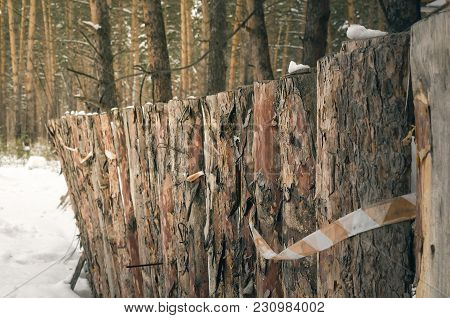 Wooden Timber Fence Made Of Pine Logs In Winter Forest Background. Construction Site. Fence On The B