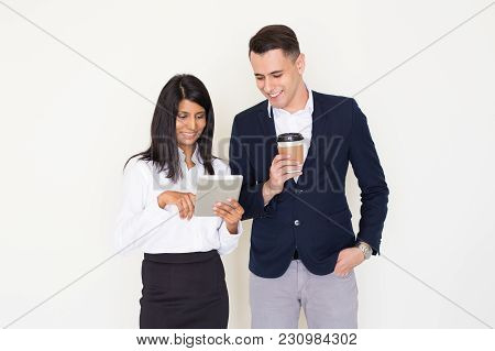 Portrait Of Happy Young Multiethnic Colleagues, Networking On Touchpad, Indian Woman Using Digital T