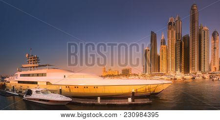 Panoramic Day View Of Sea Bay With Yachts At Sunset In Dubai Marina, Uae