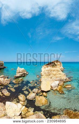 Picturesque Seascape With White Rocky Cliffs (faraglioni) At Beach Spiaggia Della Punticeddha, Salen