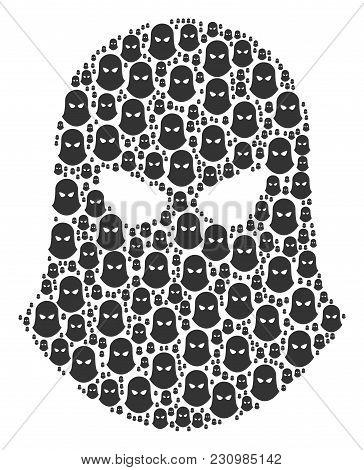 Terrorist Balaklava Collage Composed In The Figure Of Terrorist Balaklava Design Elements. Vector Ic