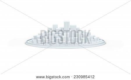 White Schematic City With A Round Wall 3d Illustration Render.