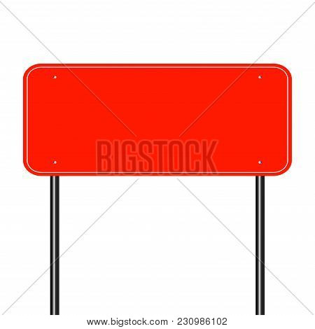 Sign Road Red,sign Board Black On White Background.vector Illustration