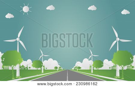 Factory Ecology,industry Icon,wind Turbines With Trees And Sun Clean Energy With Road Eco-friendly C
