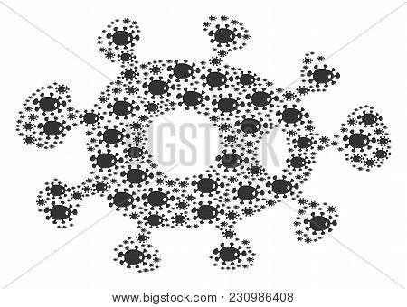 Bacteria Figure Combined In The Shape Of Bacteria Design Elements. Vector Iconized Composition Compo