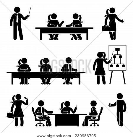 Stick Figure Business Presentation Icon Set. Vector Illustration Of Negotiation On White