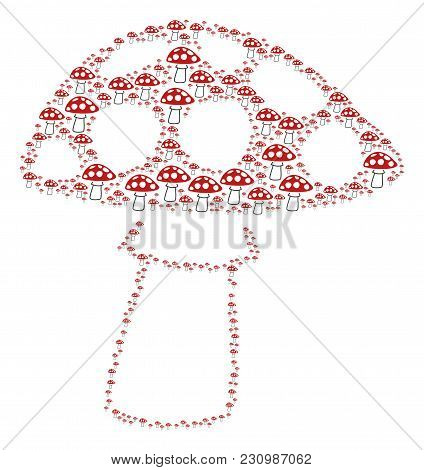 Mushroom Composition Made In The Figure Of Mushroom Icons. Vector Iconized Collage Created With Simp